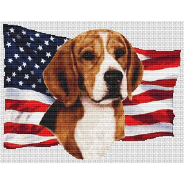 Beagle Cross Stitch Pattern - Patriotic
