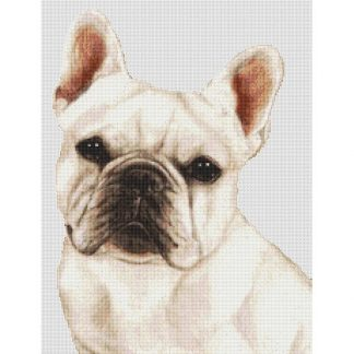 French Bulldog Cross Stitch Pattern IV (White)