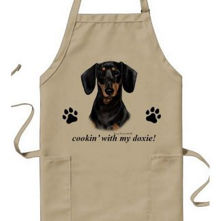 Dachshund Apron - Cookin (Black Tan)