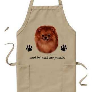 Pomeranian Apron - Cookin (Red)