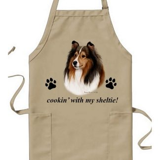 Shetland Sheepdog Apron - Cookin (Black Tan Cropped)
