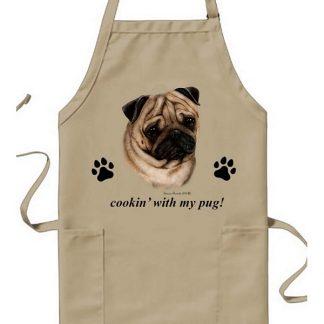 Pug Apron - Cookin (Fawn)
