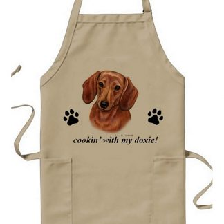 Dachshund Apron - Cookin (Red)