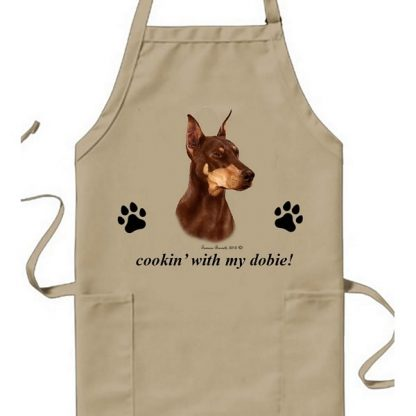 Doberman Pinscher Apron - Cookin (Red Cropped)