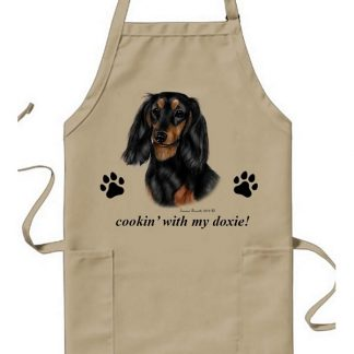 Longhaired Dachshund Apron - Cookin (Black Tan)