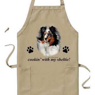 Blue Merle Shetland Sheepdog Apron - Cookin