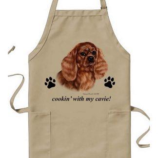Ruby Cavalier Spaniel  Apron - Cookin