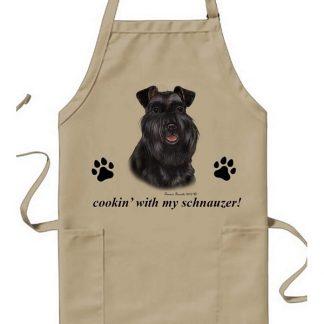Schnauzer Apron - Cookin (Black Uncropped)