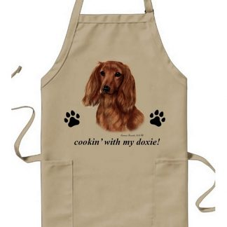 Longhaired Dachshund Apron - Cookin (Red)