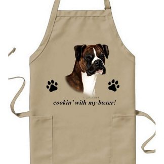 Boxer Apron - Cookin (Brindle Uncropped)