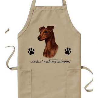 Miniature Pinscher Apron - Cookin (Red Uncropped)