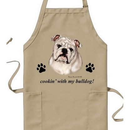 Bulldog Apron - Cookin (White)