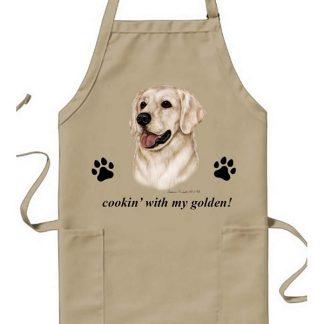 Golden Retriever Apron - Cookin (White)