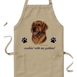 Golden Retriever Apron - Cookin (Red)