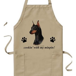 Miniature Pinscher Apron - Cookin (Black Tan Cropped)
