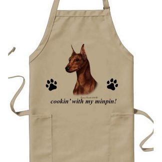 Miniature Pinscher Apron - Cookin (Red Cropped)
