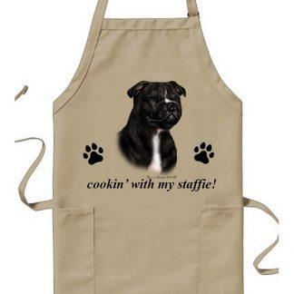 Staffordshire Bull Terrier Apron - Cookin (Black White)