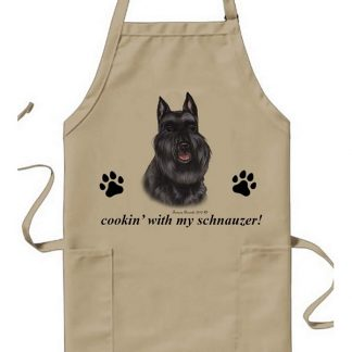 Schnauzer Apron - Cookin (Black Cropped)