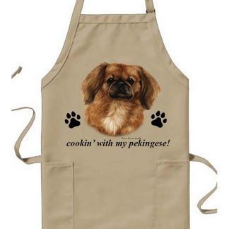 Pekingese Apron - Cookin (Red)