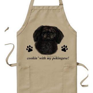 Pekingese Apron - Cookin (Black)