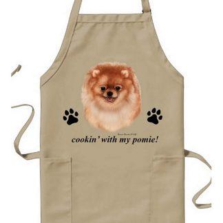 Pomeranian Apron - Cookin (Orange)
