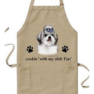 Shih Tzu Apron - Cookin (Silver)