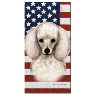 White Poodle Beach Towel - Patriotic