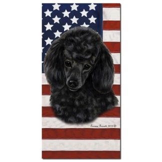 Black Poodle Beach Towel - Patriotic