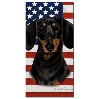 Dachshund Beach Towel - Patriotic (Black Tan)