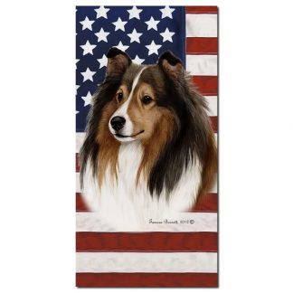 Shetland Sheepdog Beach Towel - Patriotic