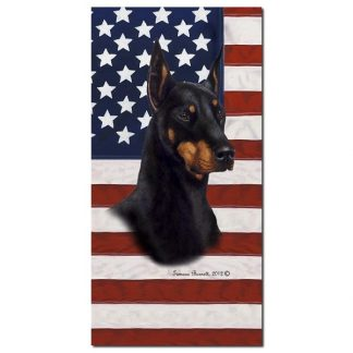 Doberman Pinscher Beach Towel - Patriotic