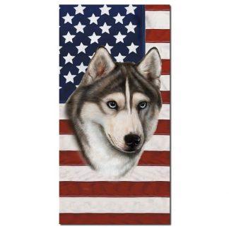 Siberian Husky Beach Towel - Patriotic (Grey)