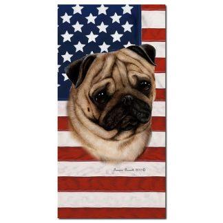 Pug Beach Towel - Patriotic (Fawn)