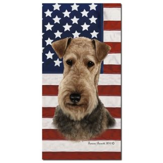 Airedale Terrier Beach Towel - Patriotic