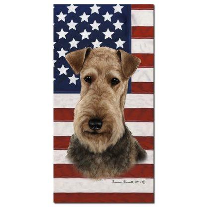 Airedale Terrier Beach Towel - Patriotic