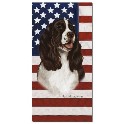 Springer Spaniel Beach Towel - Patriotic (Liver)