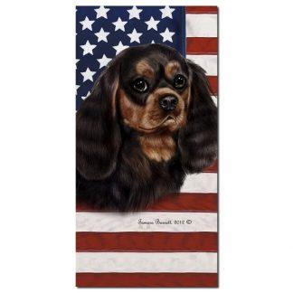 Black & Tan Cavalier Spaniel Beach Towel - Patriotic
