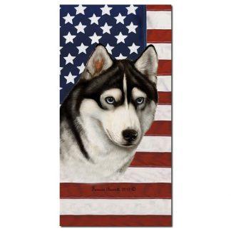 Siberian Husky Beach Towel - Patriotic (Black)