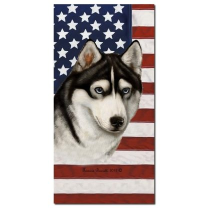 Siberian Husky Beach Towel - Patriotic (Black)