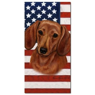 Dachshund Beach Towel - Patriotic (Red)