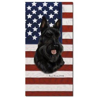 Scottish Terrier Beach Towel - Patriotic (Black)