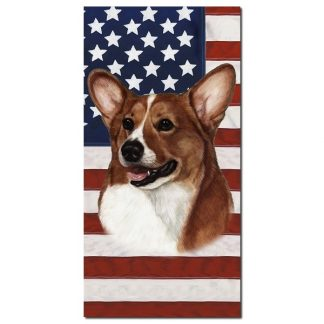 Corgi Beach Towel - Patriotic (Pembroke Tan)