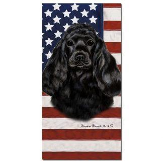 Black Cocker Spaniel Beach Towel - Patriotic