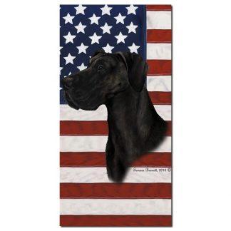 Great Dane Beach Towel - Patriotic (Black Uncropped)