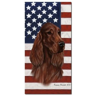 Irish Setter Beach Towel - Patriotic (Red)