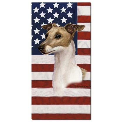 Italian Greyhound Beach Towel - Patriotic (Fawn White)