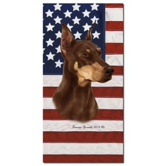 Doberman Pinscher Beach Towel - Patriotic (Red)