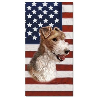 Wire Fox Terrier Beach Towel - Patriotic