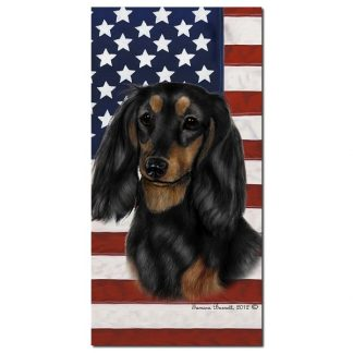 Longhaired Dachshund Beach Towel - Patriotic (Black Tan)