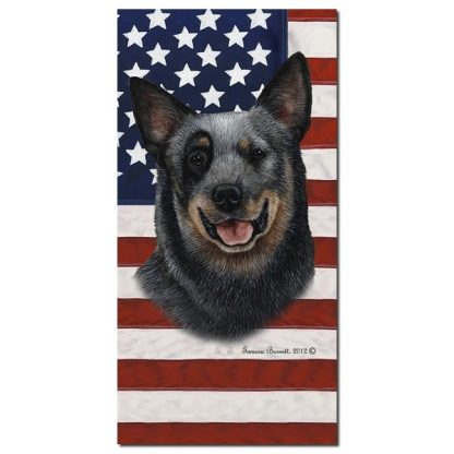 Australian Cattle Dog Beach Towel - Patriotic (Blue)